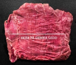 Skär köttet så här över fiberriktningen