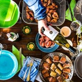 Rökta räkor, lax och torsk med aioli