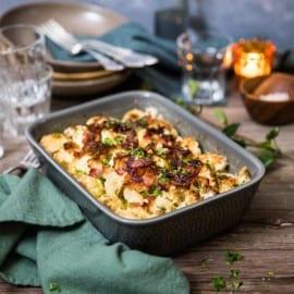 Blomkål i ugn med bacon och ost
