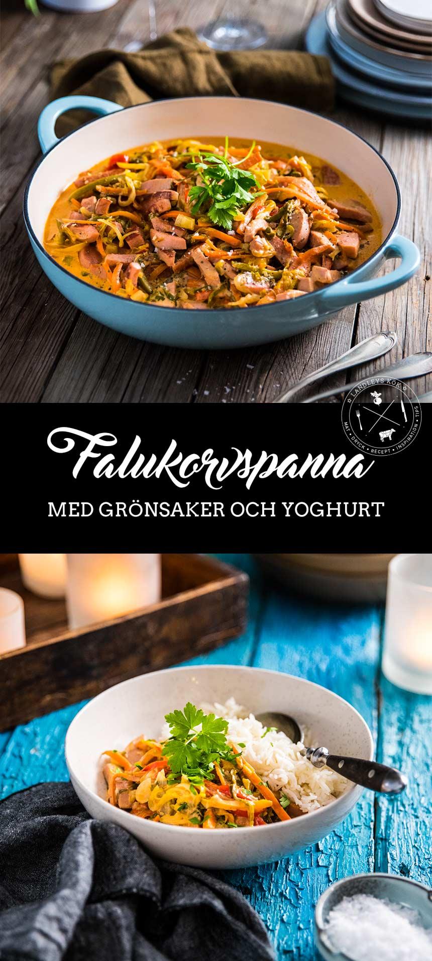 Falukorvspanna med grönsaker och yoghurt