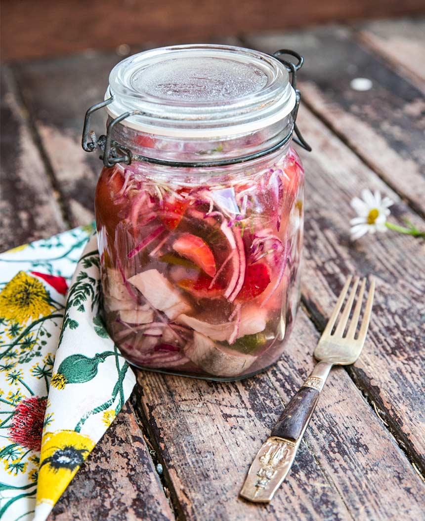 Gran- och jordgubbssill med rödklöver