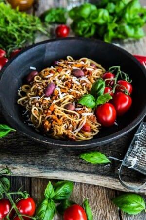 Spagetti med lyxig köttfärssås
