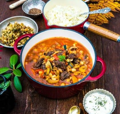 Marockansk köttgryta med linser och kikärtor